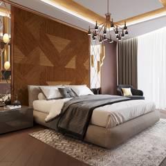 Современный ар деко: Спальни в . Автор – Дизайн студия 'Чехова и Компания', Эклектичный Дерево Эффект древесины