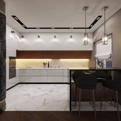 Современный ар деко: Встроенные кухни в . Автор – Дизайн студия 'Чехова и Компания',