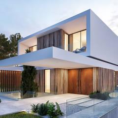 CASA CC1- Moradia na Quinta do Peru - Projeto de Arquitetura: Casas  por Traçado Regulador. Lda,Moderno Madeira Acabamento em madeira