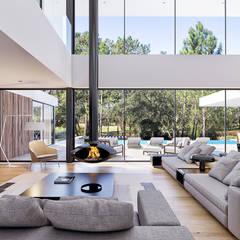 CASA CC1- Moradia na Quinta do Peru - Projeto de Arquitetura: Salas de estar  por Traçado Regulador. Lda,Moderno Madeira Acabamento em madeira