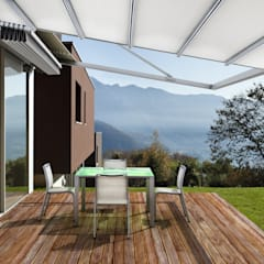 Pérgola Retráctil y Muebles para Exterior: Hoteles de estilo  por Parasoles Tropicales - Arquitectura Exterior, Moderno Aluminio/Cinc