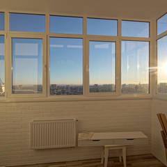 3-комнатная квартира в г.Краснодаре: балконы в . Автор – Студия интерьерного дизайна happy.design,