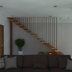 VIVIENDA UNIFAMILIAR: Escaleras de estilo  por TECTONICA STUDIO SAC, Moderno