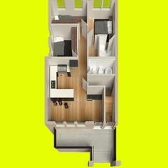 render planta baja: Cuartos de estilo  por Alexander Chivico, Moderno Madera Acabado en madera