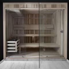 Baño Sauna frente de cristal : Baños de estilo  por AQUASTEAM BAÑOS SAUNA, Rústico Madera Acabado en madera