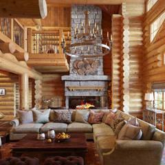 Оформление деревянного дома для постоянного проживания: Гостиная в . Автор – SJull Design, Рустикальный
