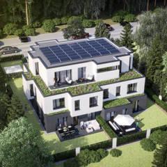 منزل عائلي كبير تنفيذ ECOLINE Holzsystembau GmbH & Co. KG ,
