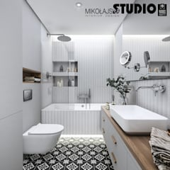 ห้องน้ำ โดย MIKOŁAJSKAstudio , สแกนดิเนเวียน