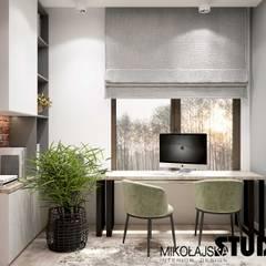 Apartament nr 333 Nowoczesne domowe biuro i gabinet od MIKOŁAJSKAstudio Nowoczesny