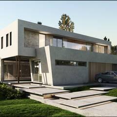 Casa Moderna Balcony: Casas de estilo  por Maximiliano Lago Arquitectura - Estudio Azteca,Moderno
