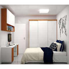 Small bedroom by Shara Andreas Arquiteta, Minimalist لکڑی Wood effect