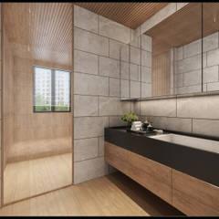 Phòng tắm phong cách châu Á bởi 立騰空間設計 Châu Á
