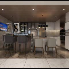 مطبخ ذو قطع مدمجة تنفيذ 立騰空間設計 , إسكندينافي