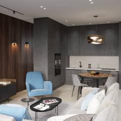 """Дизайн проект квартиры, ЖК """"Headliner"""" (Хедлайнер): Встроенные кухни в . Автор – Дизайн студия 'Декотренд',"""