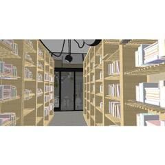 Bibliotheek & koffiebar wetenschappelijke instituut:  Exhibitieruimten door Dil, Modern