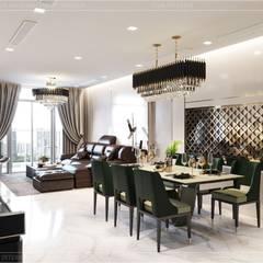 Quy luật tương phản trong thiết kế nội thất căn hộ Vinhomes Central Park:  Phòng ăn by ICON INTERIOR,