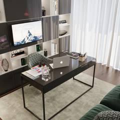 Projecto 3d e Decoração de interiores de um apartamento: Escritórios e Espaços de trabalho  por WoodSpace - Design de Interiores,Moderno