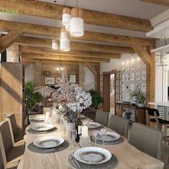 Дизайн интерьера двухкомнатного дома 73 кв. м в стиле шале. Фото проекта: Гостиная в . Автор – ЕвроДом, Рустикальный