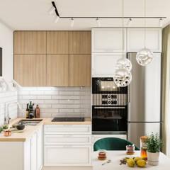 Дизайн - проект 1 комнатной квартиры 44 кв.м. в г. Москва: Встроенные кухни в . Автор – CUBE INTERIOR,