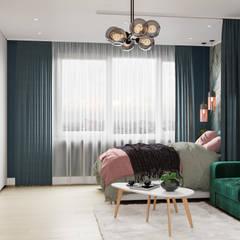 Дизайн - проект 1 комнатной квартиры 44 кв.м. в г. Москва: Маленькие спальни в . Автор – CUBE INTERIOR,