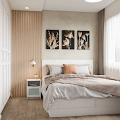 Projekty,  Małe sypialnie zaprojektowane przez CUBE INTERIOR, Skandynawski