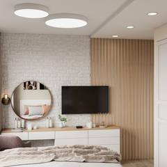 Дизайн - проект двухкомнатной квартиры 53,5 кв.м. в г. Москве: Маленькие спальни в . Автор – CUBE INTERIOR,