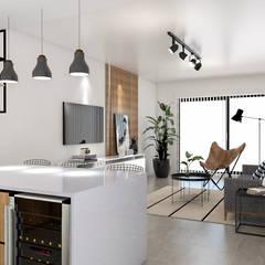 Obra Dorrego - Diseño Departamento 3 ambientes Cocinas industriales de Bhavana Industrial Mármol
