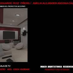 SALA RESIDENCIAL: Salas multimedia de estilo  por ELITE ARQUITECTOS, Minimalista
