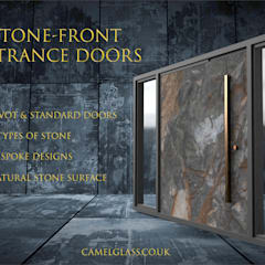Stone Front Contemporary Entrance Doors:  Front doors by Camel Glass, Modern Slate