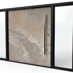 Stone Front Contemporary Entrance Doors:  Front doors by Camel Glass, Modern Stone