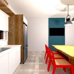 Armarios de cocinas de estilo  por Talita Kvian, Tropical Tablero DM