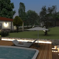 Design de interiores, projeto da área da piscina, garagem e churrasqueira em Casa de Campo Piscinas campestres por Form Arquitetura e Design Campestre