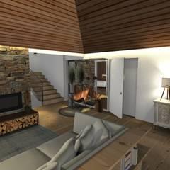 Design de interiores, projeto da área da piscina, garagem e churrasqueira em Casa de Campo Salas de jantar campestres por Form Arquitetura e Design Campestre