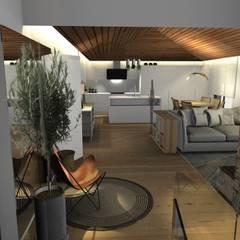Design de interiores, projeto da área da piscina, garagem e churrasqueira em Casa de Campo: Salas de estar  por Form Arquitetura e Design,Campestre