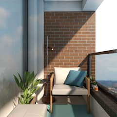 Balcony by Mariana Geroldo Arquitetura, Industrial Bricks