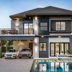 บ้านพักอาศัย2ชั้น:  บ้านเดี่ยว โดย บริษัท 159 เอ็นจิเนียริ่ง จำกัด,