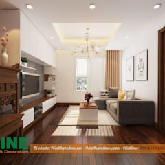 CHI PHÍ THI CÔNG NỘI THẤT CHUNG CƯ CĂN HỘ 80M2:  Phòng khách by NỘI THẤT XLINE, Hiện đại Gỗ thiết kế Transparent