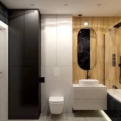 Mieszkanie 69m2 w Rzeszowie Nowoczesna łazienka od MACZ Architektura - Architekt wnętrz Kraków Nowoczesny Płytki