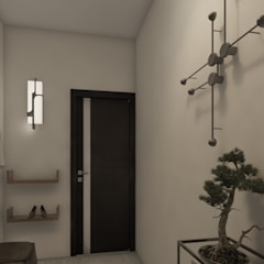 Renderizado 3D Virtual Real Pasillos, vestíbulos y escaleras de estilo moderno de Arkiline Arquitectura Optativa Moderno Cerámico
