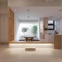 전주인테리어 팔레트 가든, 상가주택 인테리어: 디자인투플라이의  거실,한옥