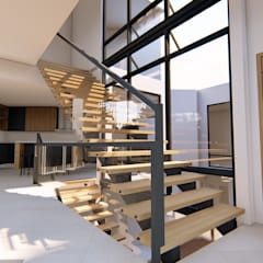 A Modern 4-Storey Residence with Pool:  Stairs by Structura Architects,