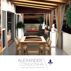 Terraza, bar y sala familiar en Penthouse San Borja: Terrazas de estilo  por Alexander Congonha, Mediterráneo Madera Acabado en madera