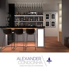Terraza, bar y sala familiar en Penthouse San Borja: Electrónica de estilo  por Alexander Congonha, Moderno