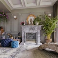 فيلا سكنية:  غرفة المعيشة تنفيذ Karim Elhalawany Studio, كلاسيكي