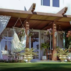 فيلا سكنية:  بلكونة أو شرفة تنفيذ Karim Elhalawany Studio, كلاسيكي