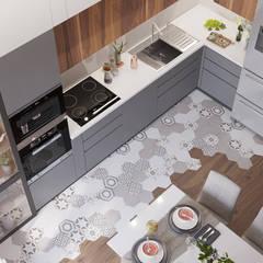 مطبخ ذو قطع مدمجة تنفيذ 'INTSTYLE', إسكندينافي البلاط