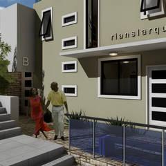 : Casas multifamiliares de estilo  por RIANSLARQUITECTOS, Minimalista Aglomerado