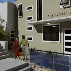 RIANSLARQUITECTOSが手掛けた二世帯住宅, ミニマル 合板(チップボード)