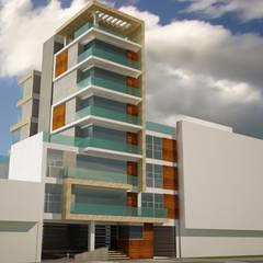 Edificio apartamentos en la Flora: Balcón de estilo  por Velasco Arquitectura, Moderno Madera Acabado en madera