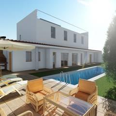 Vivienda rural con piscina en Cuenca (Hontecillas): Piscinas de jardín de estilo  de Alfaro Arquitecto 3A3, Clásico